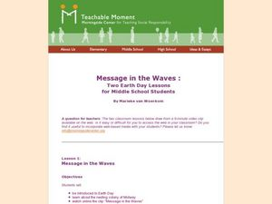 Message in the  Waves :Two Earth Day Lessons for Middle School Students Lesson Plan