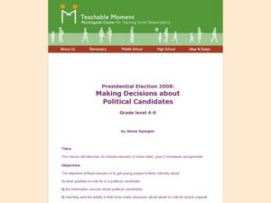 Presidential Election 2008:Making Decisions about Political Candidates Lesson Plan
