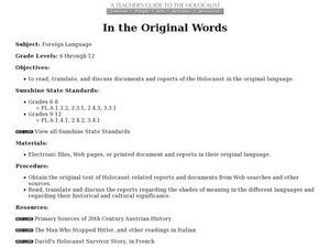 In the Original Words Lesson Plan