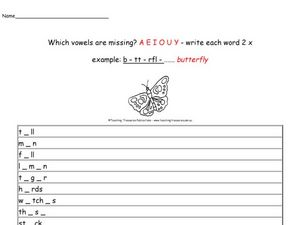 Which Vowels Are Missing? Worksheet