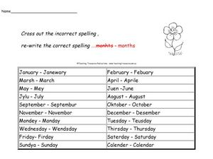 Calendar Spelling Worksheet