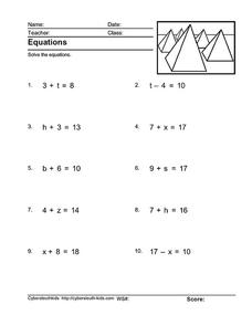 Pre-Algebra Equations Worksheet