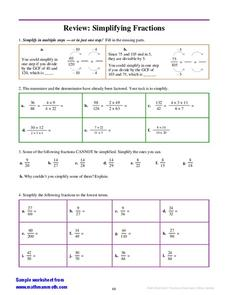 Review: Simplifying Fractions Worksheet