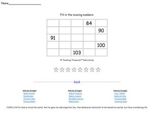 Missing Numbers Ten Worksheet