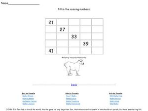 Missing Numbers Twelve Worksheet