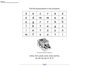 Find the Measurements: Word Search Worksheet