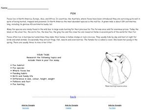 Fox Worksheet