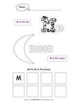 M Is For Me, M Is For Moon Worksheet