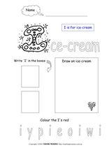 Letter I Activity Sheet Worksheet