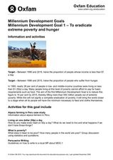 Millennium Development Goals - To eradicate extreme poverty and hunger Lesson Plan