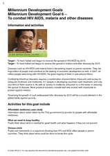 Millennium Development Goal: To Combat HIV/AIDS, Malaria, and Other Diseases Lesson Plan