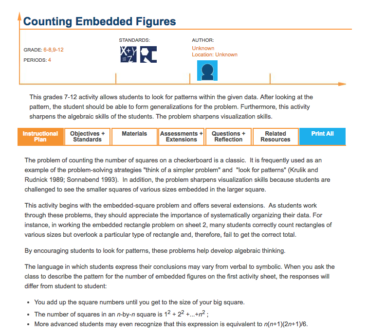 Counting Embedded Figures Lesson Plan