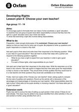 Developing Rights Lesson Plan 8: Choose your own Teacher Lesson Plan