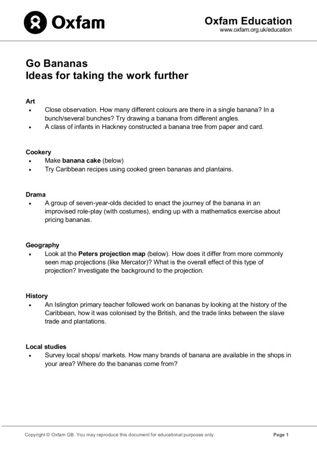 Go Bananas  Ideas for Taking the Work Further Lesson Plan