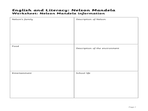 English and Literacy: Nelson Mandela - Lesson Plan 1: Biography and Autobiography Information Exercise Lesson Plan