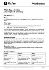 Photo Opportunities Lesson plan 3: Cropping Lesson Plan