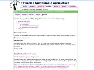 Regulation and handling of animal products:                                  a special challenge Lesson Plan