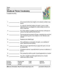 Medieval Times Vocabulary Worksheet
