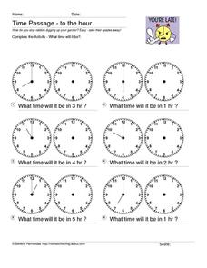 Time Passage - to the Hour Worksheet
