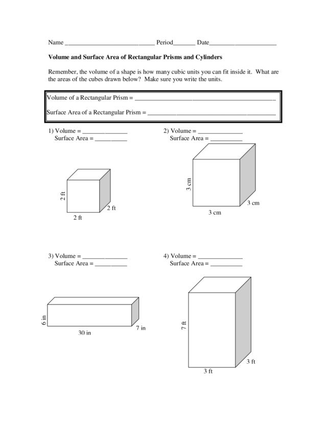 Volume And Surface Area Of Rectangular Prisms And