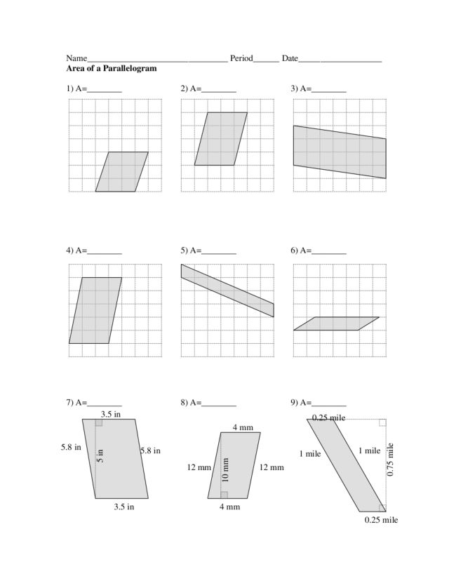 Area of Parallelogram 8th 10th Grade Worksheet – Parallelogram Area Worksheet