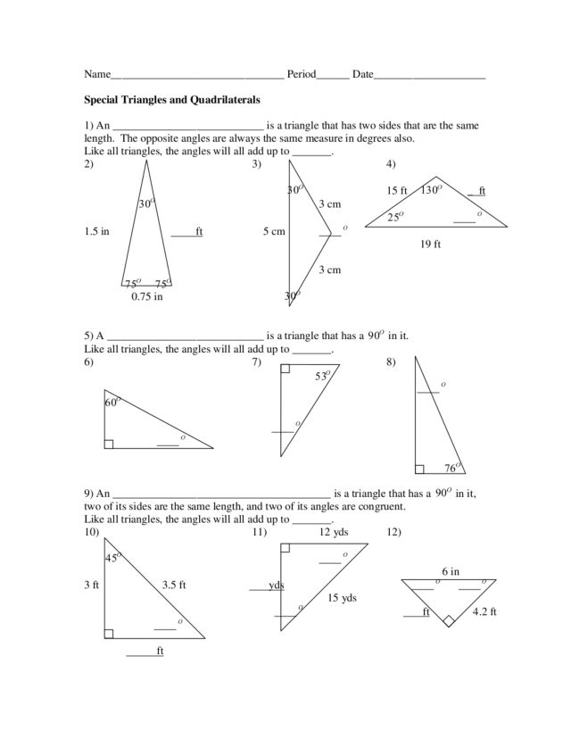 Special Triangle Worksheet Tecnologialinstante – Special Right Triangles 30 60 90 Worksheet Answers