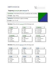 Beginning Synonyms and Antonyms #4 Worksheet