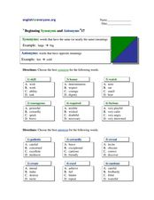 Beginning Synonyms and Antonyms #17 Worksheet