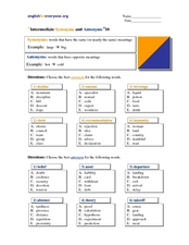 Intermediate Synonyms and Antonyms #10 Worksheet