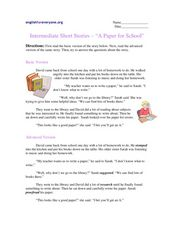 "Intermediate Short Stories - ""A Paper for School"" Worksheet"