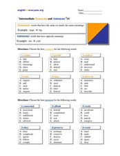 Intermediate Synonyms and Antonyms #14 Worksheet