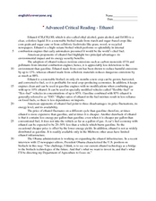 Advanced Critical Reading: Ethanol Worksheet