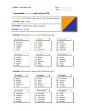 Intermediate Synonyms and Antonyms #18 Worksheet