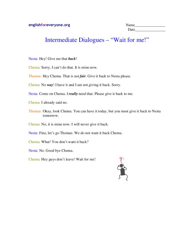 "Intermediate Dialogues - ""Wait for Me!"" Worksheet"