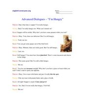 "Advanced Dialogues- ""I'm Hungry"" Worksheet"