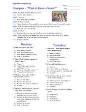 "Dialogues: ""Want to Know a Secret?"" Worksheet"