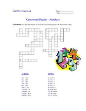 Crossword Puzzle- Numbers Worksheet