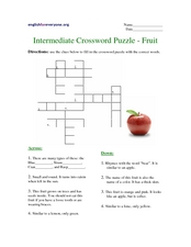 Intermediate Crossword Puzzle - Fruit Worksheet