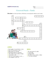 Crossword Puzzle - Family Worksheet