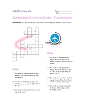 Intermediate Crossword Puzzle - Transportation Worksheet