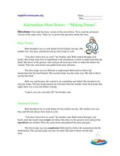 "Intermediate Short Stories - ""Making Dinner"" Worksheet"