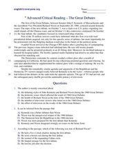 Advanced Critical Reading:  The Great Debates Worksheet