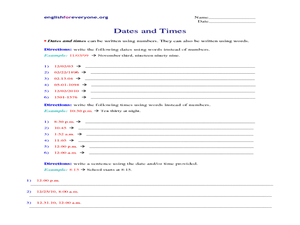 Dates and Times Worksheet