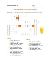 Crossword Puzzle - Breakfast Foods Worksheet