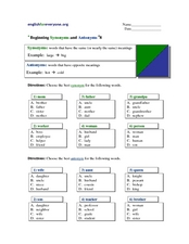 Beginning Synonyms and Antonyms #8 Worksheet
