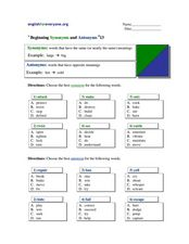 Beginning Synonyms and Antonyms 13 Worksheet