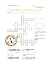 Advanced Crossword Puzzle-Geography Worksheet