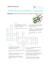 Advanced Crossword Puzzle- Landscaping Worksheet