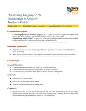 Discovering Language Arts: Introduction to Research Lesson Plan