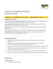 Language Arts Skills: Listening and Speaking Strategies